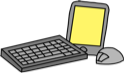 A tablet, keyboard, and mouse